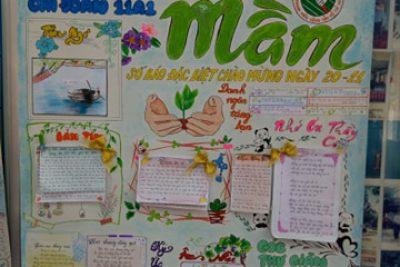 Nghệ thuật – Sáng tạo – Báo tường chào mừng 20/11 của học sinh THPT DTNT N'Trang Lơng
