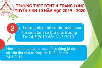 KẾ HOẠCH TUYỂN SINH LỚP 10 NĂM HỌC 2019 – 2020